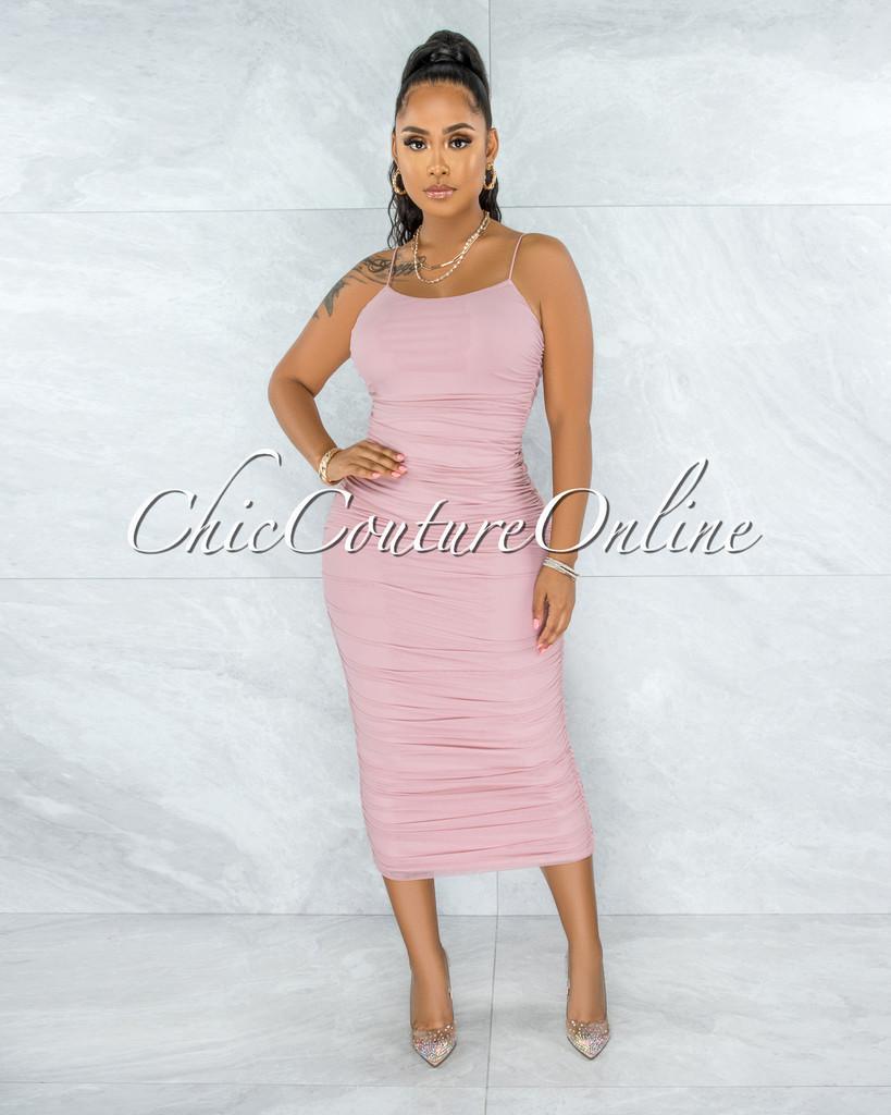 Elica Pink Mesh Ruched Midi Dress