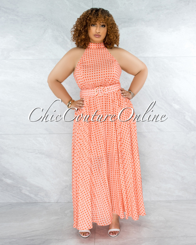 Quella Coral Orange Polka Dots Matching Belt CURVACEOUS Dress
