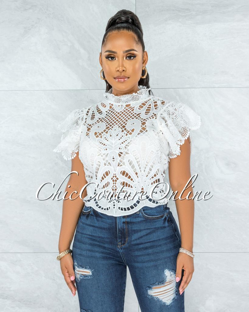 Kimane White See-Through Crochet Ruffle Sleeves Top