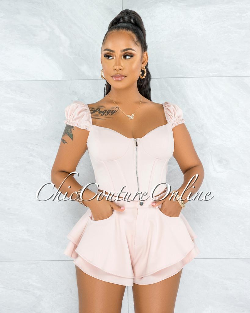 Loicy Blush Corset Style Top & Shorts Ruffle Set