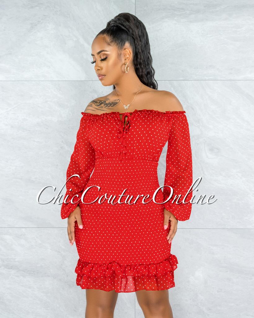 Jiselle Red White Polka Dots Smocked Ruffle Dress