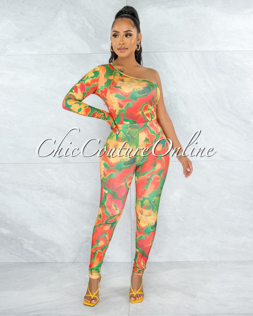 Unnia Green Orange Print Single Sleeve Top & Leggings Set
