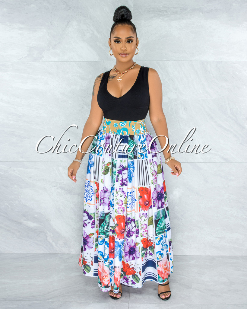 Andrik White Multi-Color Print Pleated Maxi Skirt