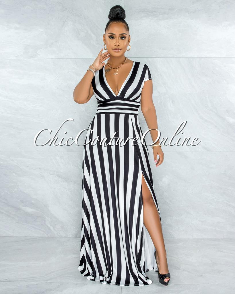 Oleisa Black White Stripes Ruched Waistband Maxi Slit Dress