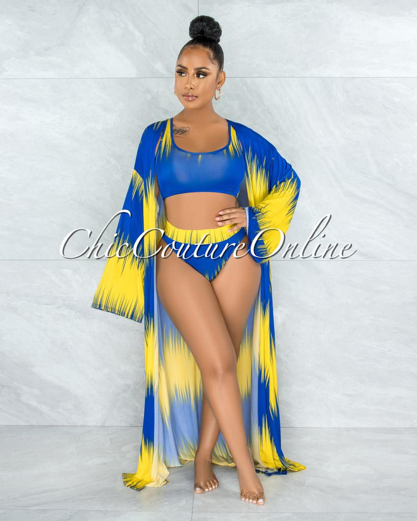 Lucibel Yellow Blue Three Piece Set Swimsuit