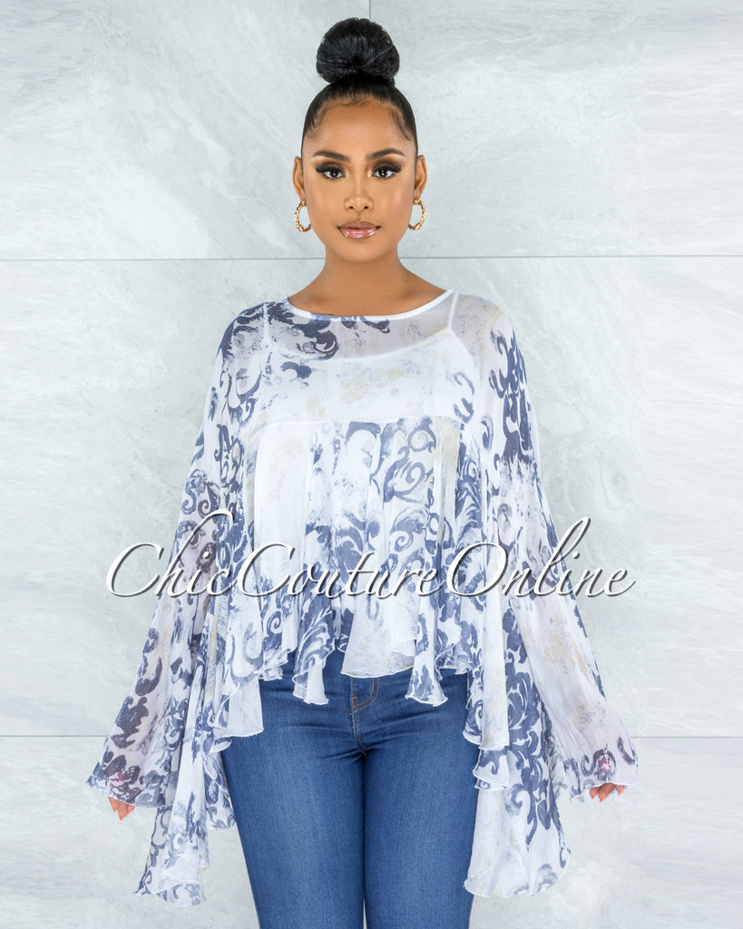 Fenia Cream Blue Print Organza Cover Up Ruffle Top
