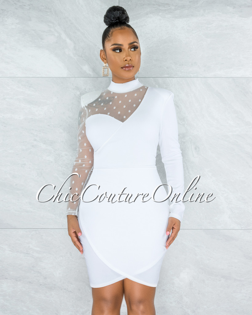 Teresa Off-White Polka Dots Tulle Single Sleeve Draped Dress