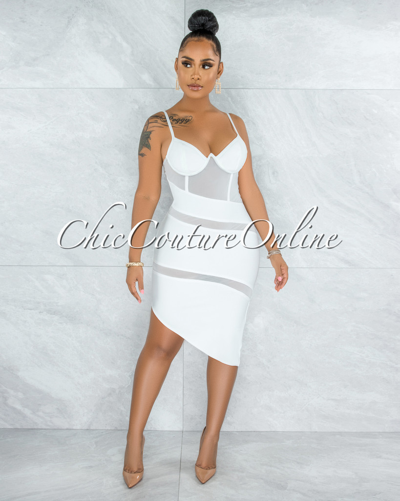 Elfrida Off-White Mesh Accent Asymmetrical Hem Bandage Dress