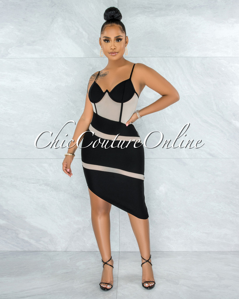 Elfrida Black Nude Mesh Accent Asymmetrical Hem Bandage Dress