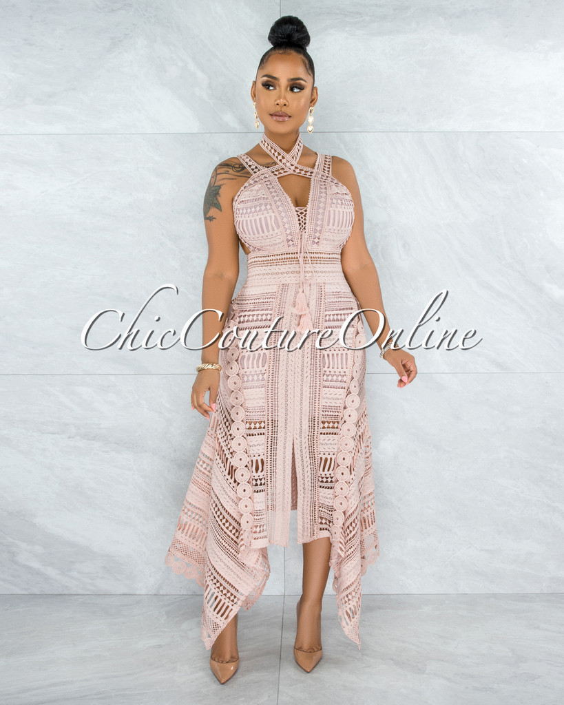 Elizabella Blush Crochet Embroidery Asymmetrical Hem Midi Dress