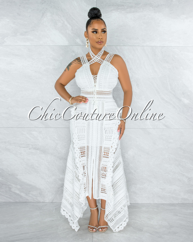Elizabella Off-White Crochet Embroidery Asymmetrical Hem Midi Dress