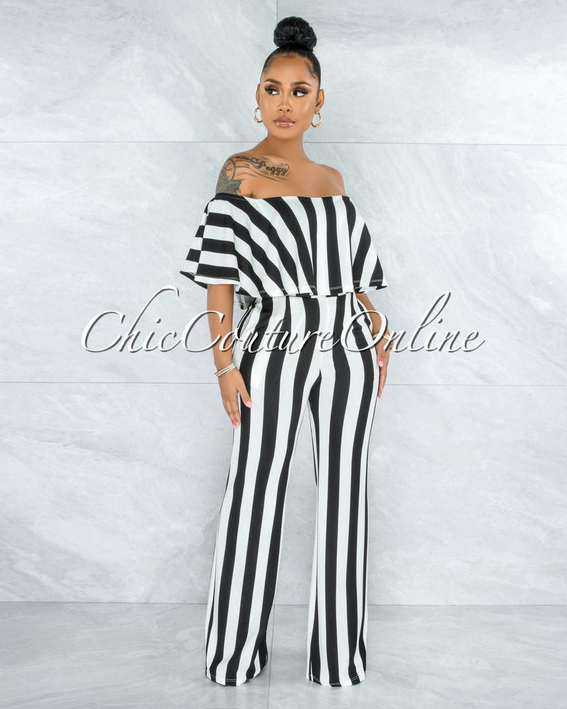 Masalda Black White Stripes Ruffle Off-The Shoulder Jumpsuit