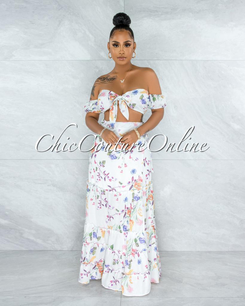 Riblah White Floral Print Self-Tie Top & Maxi Skirt Set