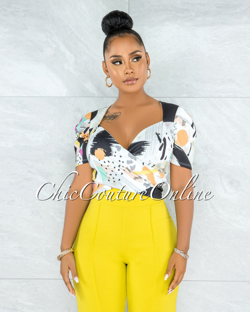 Donna Off-White Yellow Print Bubble Sleeves Crop Top