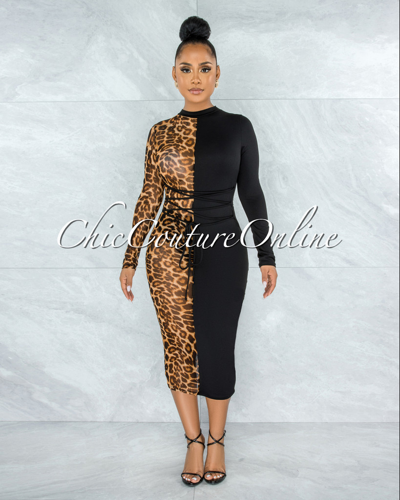 Haji Black Leopard Two-Tones Lace-Up Dress
