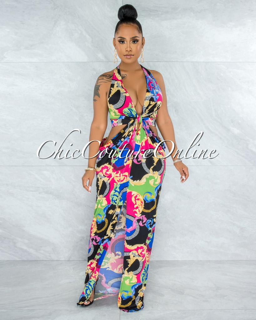 Irene Black Multi-Color Print Halter Cut-Out Maxi Dress