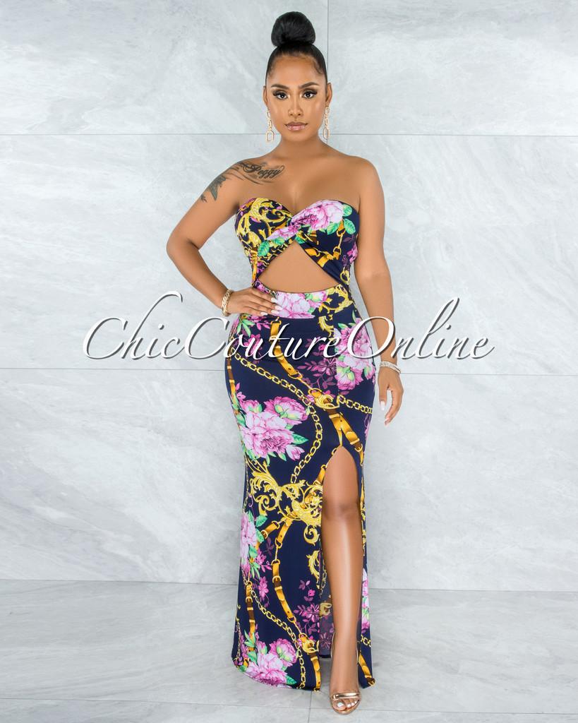 Luca Navy Blue Floral Print Cut-Out Strapless Maxi Dress