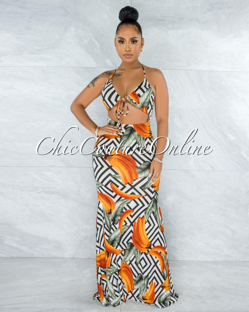 Dangelis Black White Banana & Leaves Print Cut-Out Maxi Dress