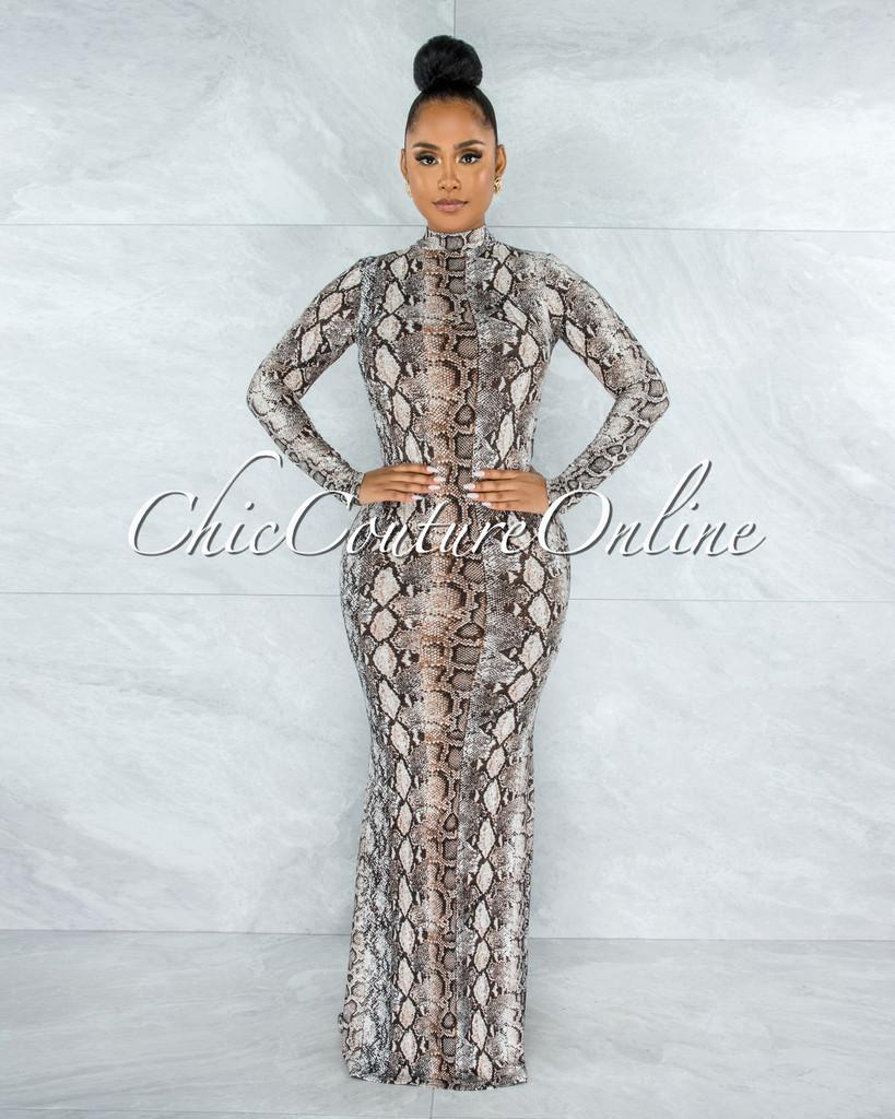 Arilda Brown Snake Print Long Sleeves Low Back Maxi Dress