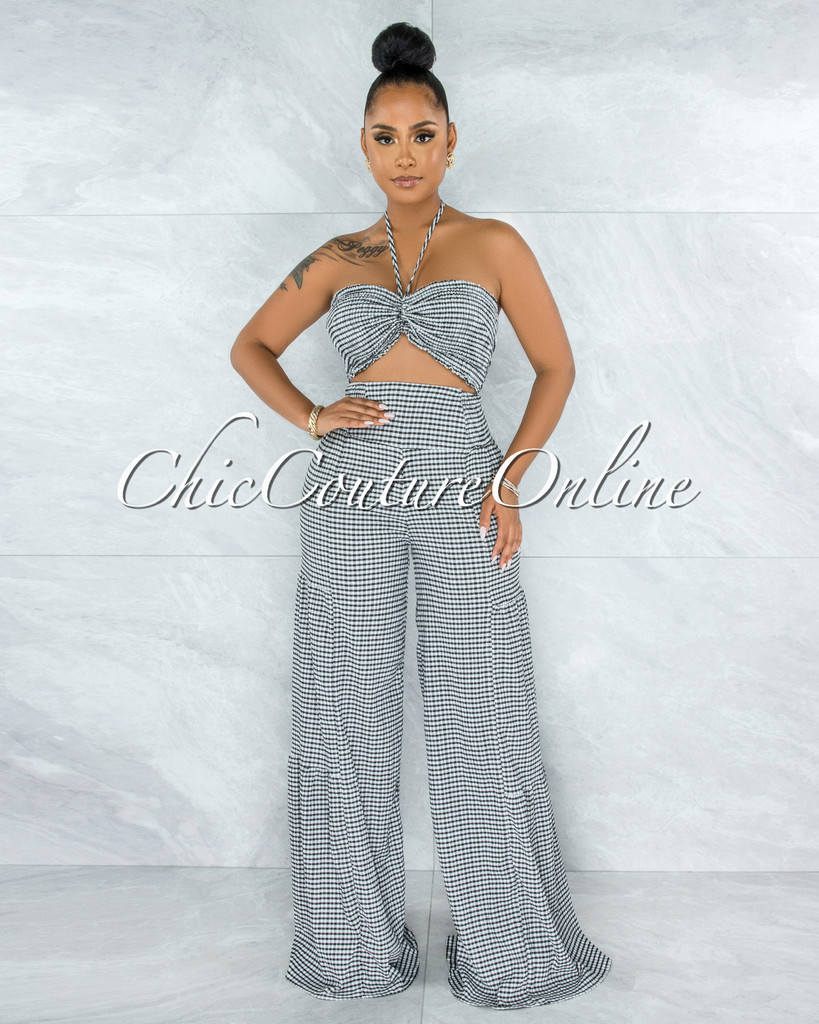 Shirley Black White Gingham Cut-Out Front Jumpsuit