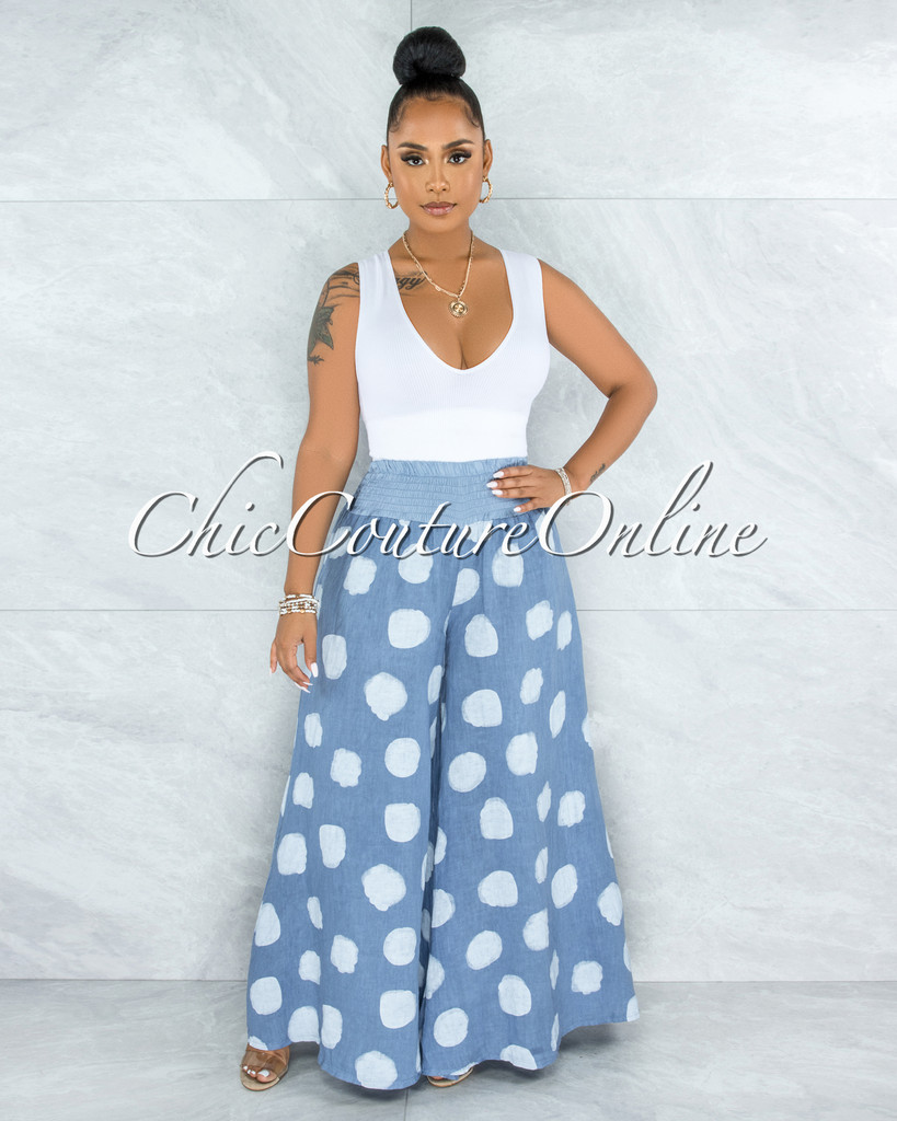 Albina Steel Blue White Polka Dots Wide Legs LINEN Pants