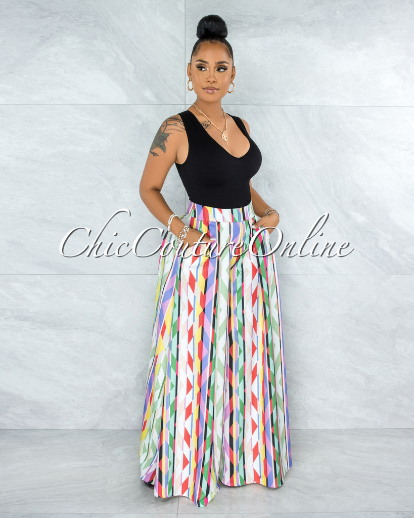 Bayless Off-White Multi-Color Geometric Print Pleated Wide Pants