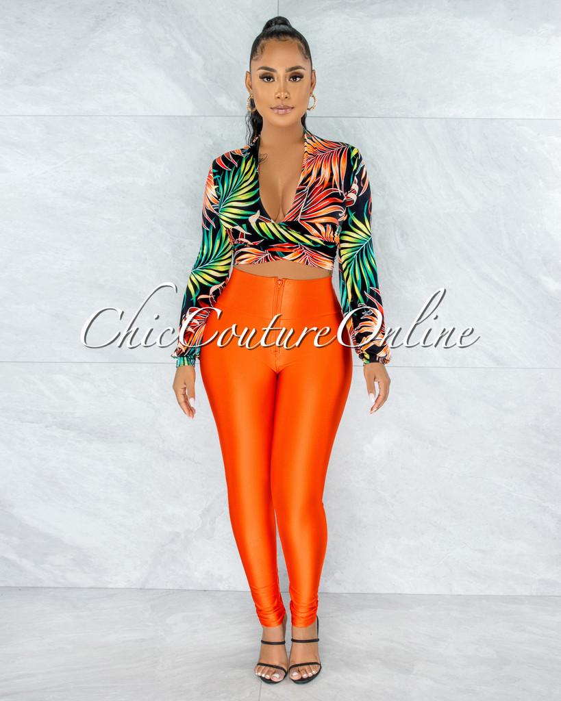 Vanra Black Orange Leaf Print Tie Top & Leggings Set