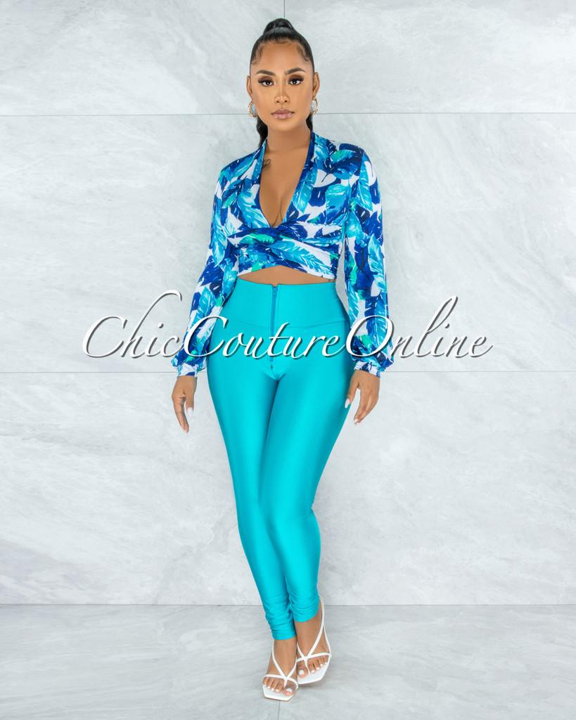 Yanisha Blue Leaf Tie Top & Turquoise Leggings Set