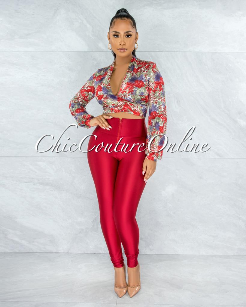 Zuyana Red Green Print Tie Top & Red Leggings Set