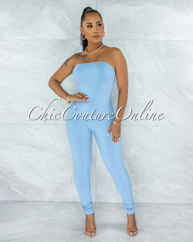 Fogarty Baby Blue Body-Con Ribbed Jumpsuit