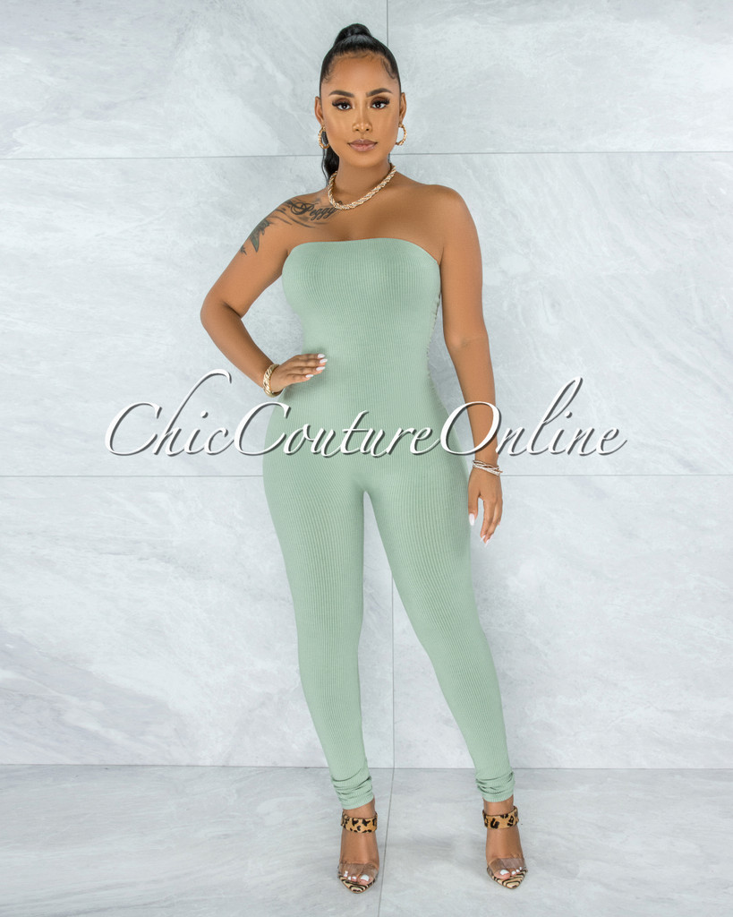 Fogarty Sage Green Body-Con Ribbed Jumpsuit