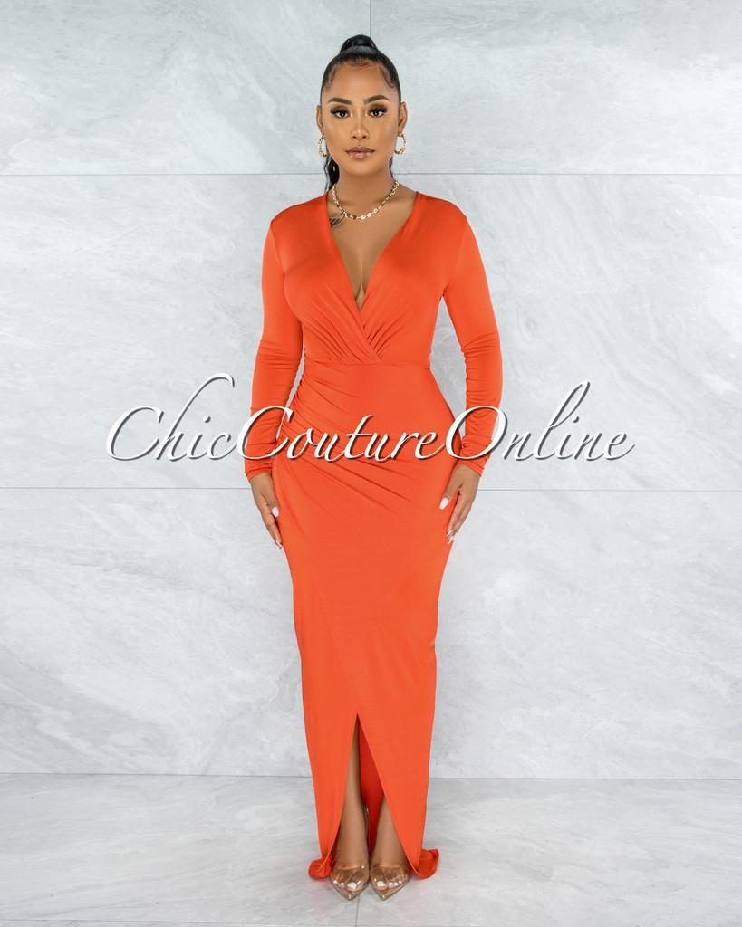 Cooney Orange V-Neck Long Sleeves Front Drape Maxi Dress