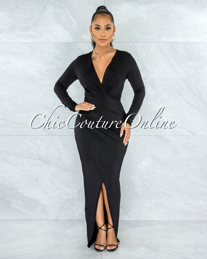 Cooney Black V-Neck Long Sleeves Front Drape Maxi Dress