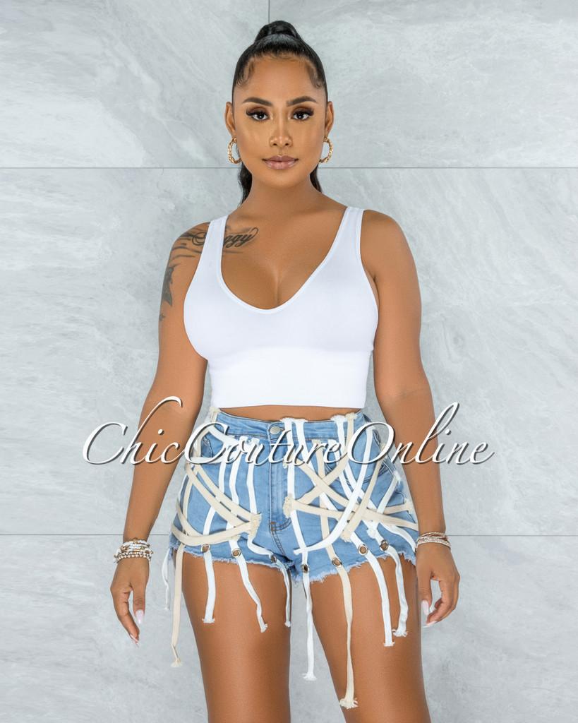 Zacharie Light Blue Denim Lace-Up Accent Shorts