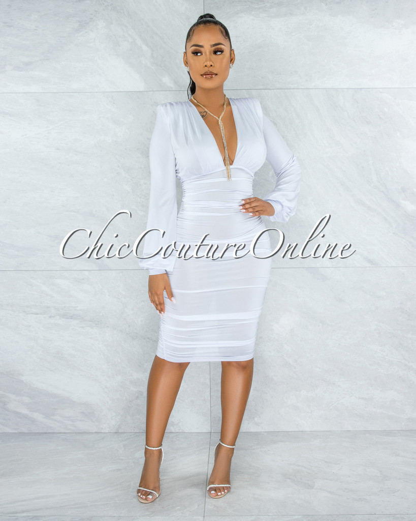 Veata Off-White Ruched Sides Deep-V Neckline Midi Dress