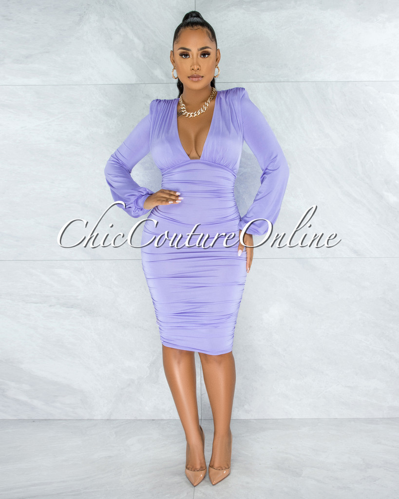Veata Lilac Ruched Sides Deep-V Neckline Midi Dress
