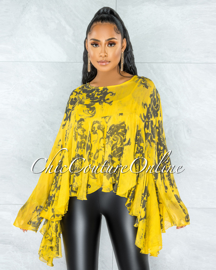 Fenia Yellow Print Organza Cover Up Ruffle Top