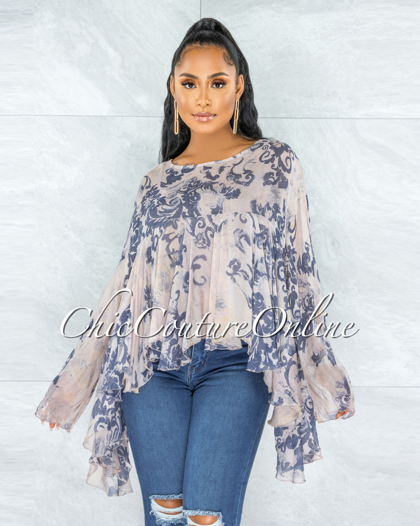 Fenia Nude Blue Print Organza Cover Up Ruffle Top