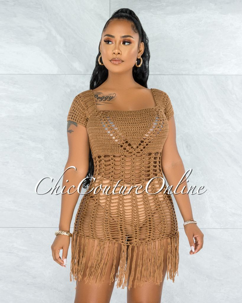 Niabi Mocha Crochet Cover-Up Fringe Dress