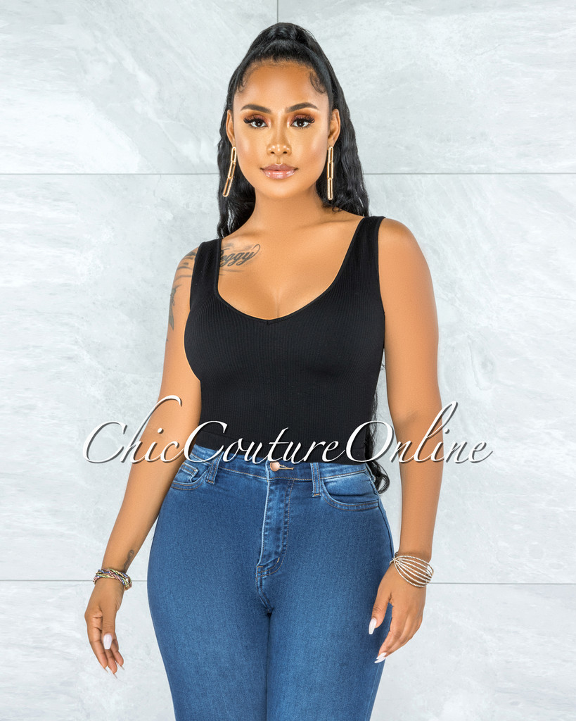 Marjani Black V-Neck Ribbed Crop Top