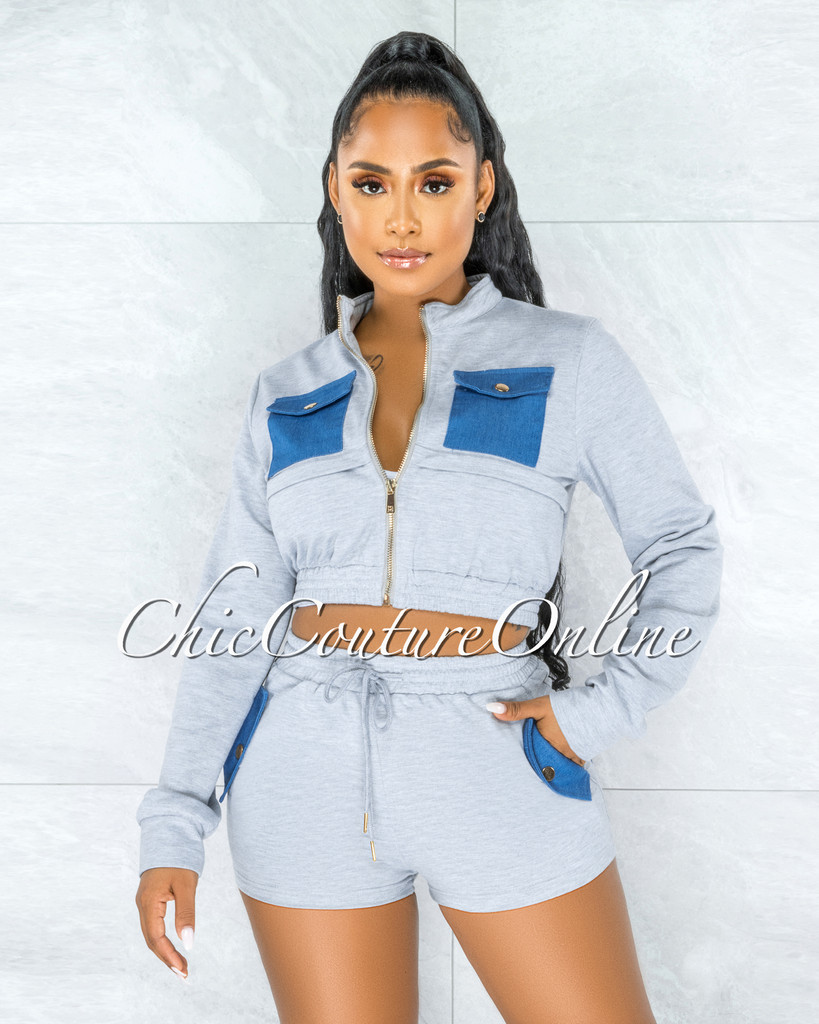 Krishen Grey Denim Pockets Sweater Shorts Two Piece Set