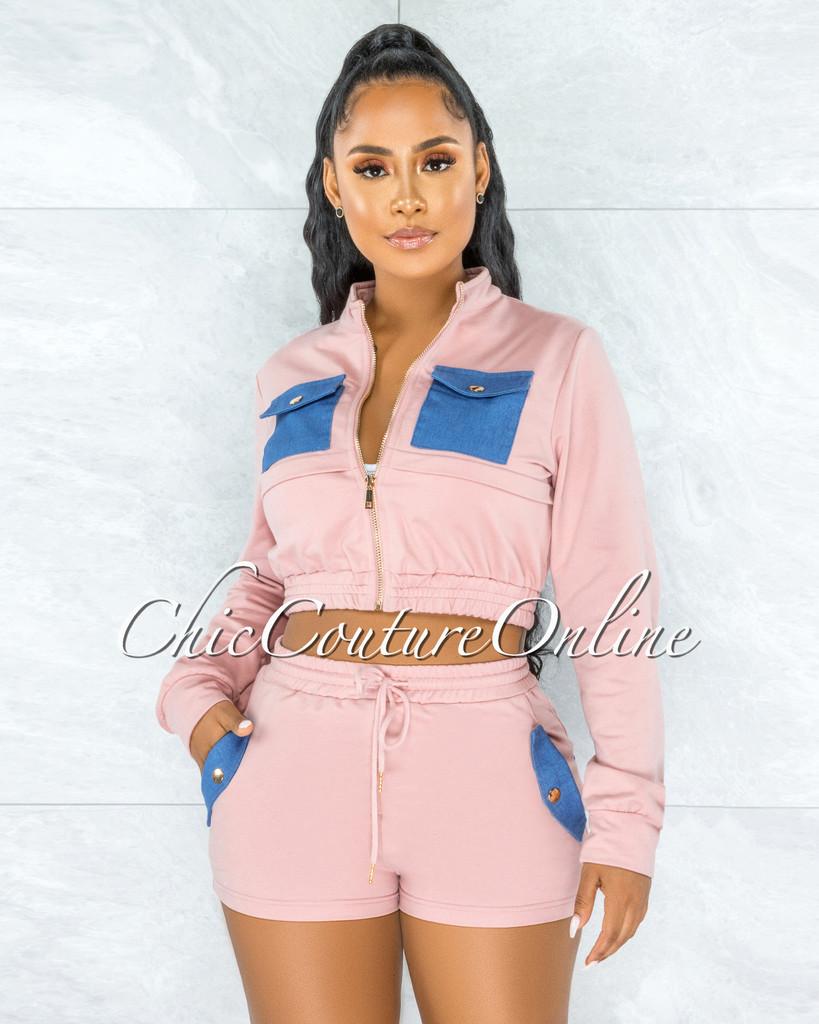 Krishen Pink Denim Pockets Sweater Shorts Two Piece Set