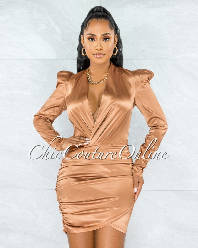 Flamina Bronze V-Neck Draped Satin Dress