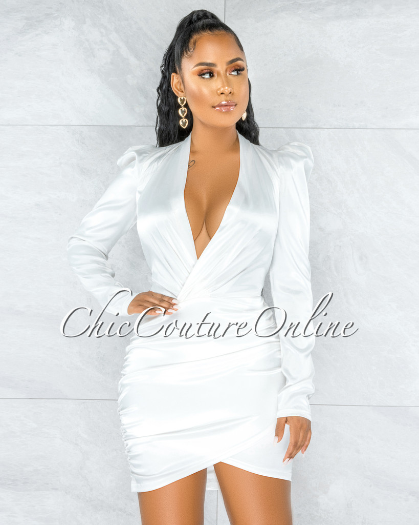 Flamina Off-White V-Neck Draped Satin Dress