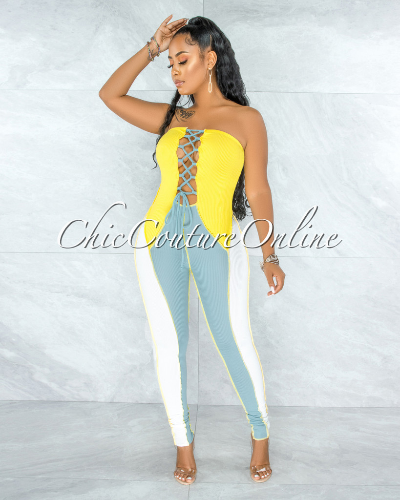 Fianna Yellow Sage Trim Ribbed Lace-Up Jumpsuit