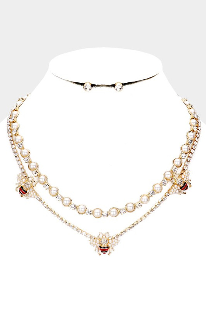 Farrah Gold Pearl Honey Bee Accented Layered Necklace