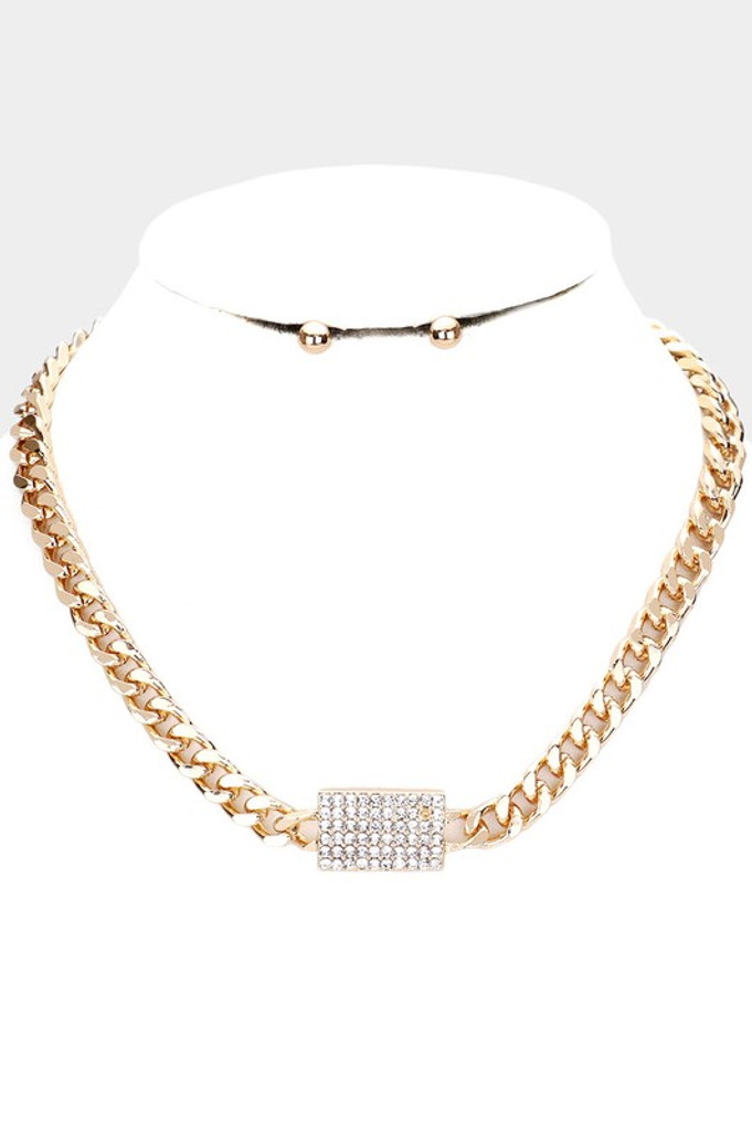 Moira Gold Rhinestone Pendant Accented Necklace