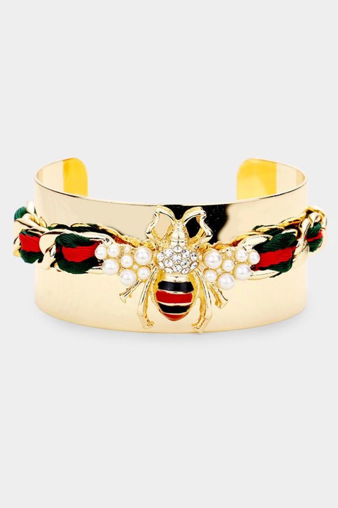 Sasha Gold Green/Red Color Block Fabric Pearl Honey Bee Cuff Bracelet