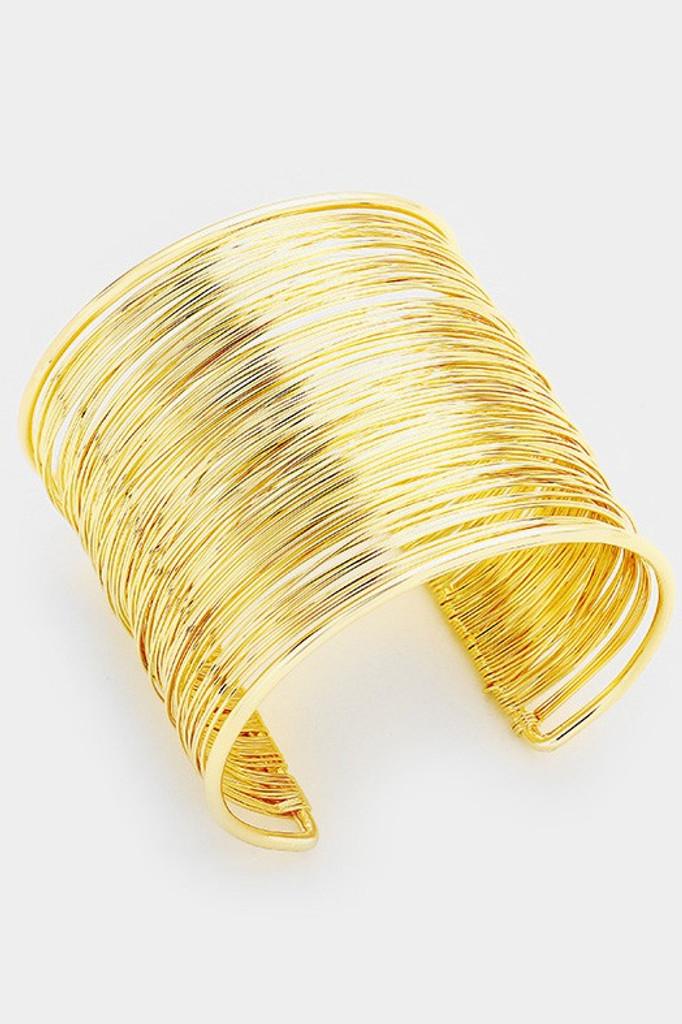 Milano Gold Multi Layered Metal Cuff Bracelet