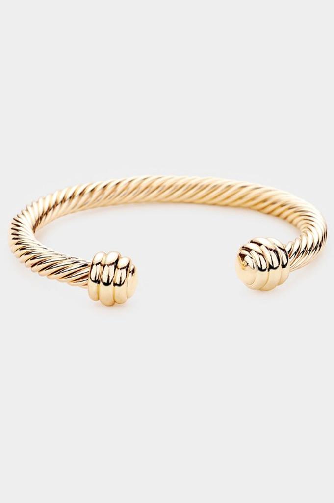 Katya Gold Twisted metal cuff bracelet
